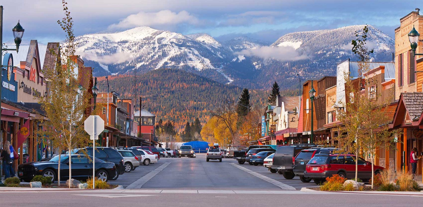 whitefish montana main street in the fall