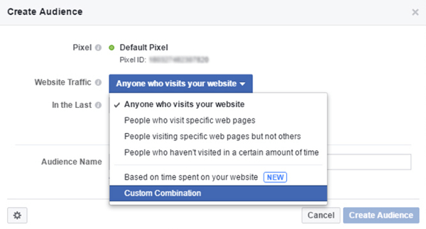 Create a Facebook custom audience to target ads to mobile users who have visited your website.