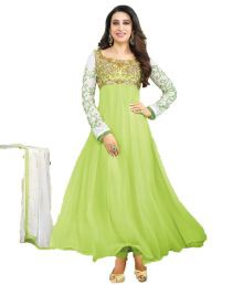 Party Wear Dresses Green Embroidered Faux Georgette Dress Material