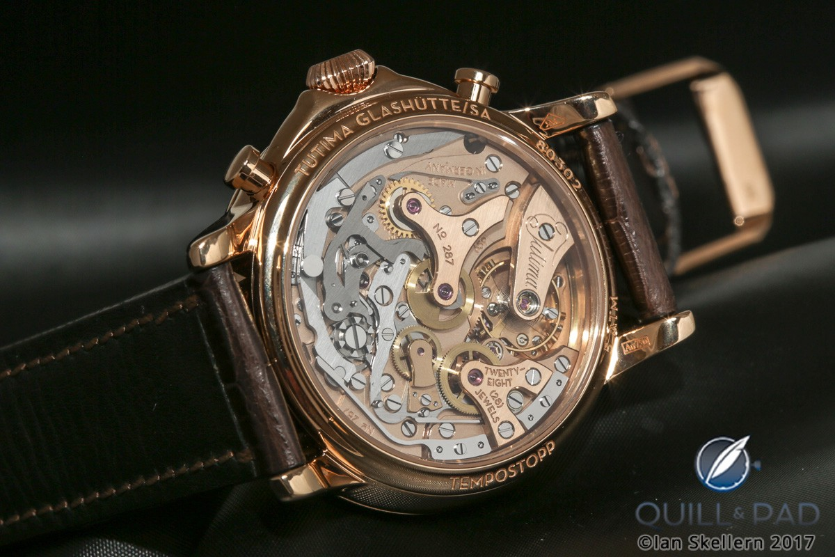 View through the display back to the beautiful movement of the Tutima Tempostopp Flyback Chronograph