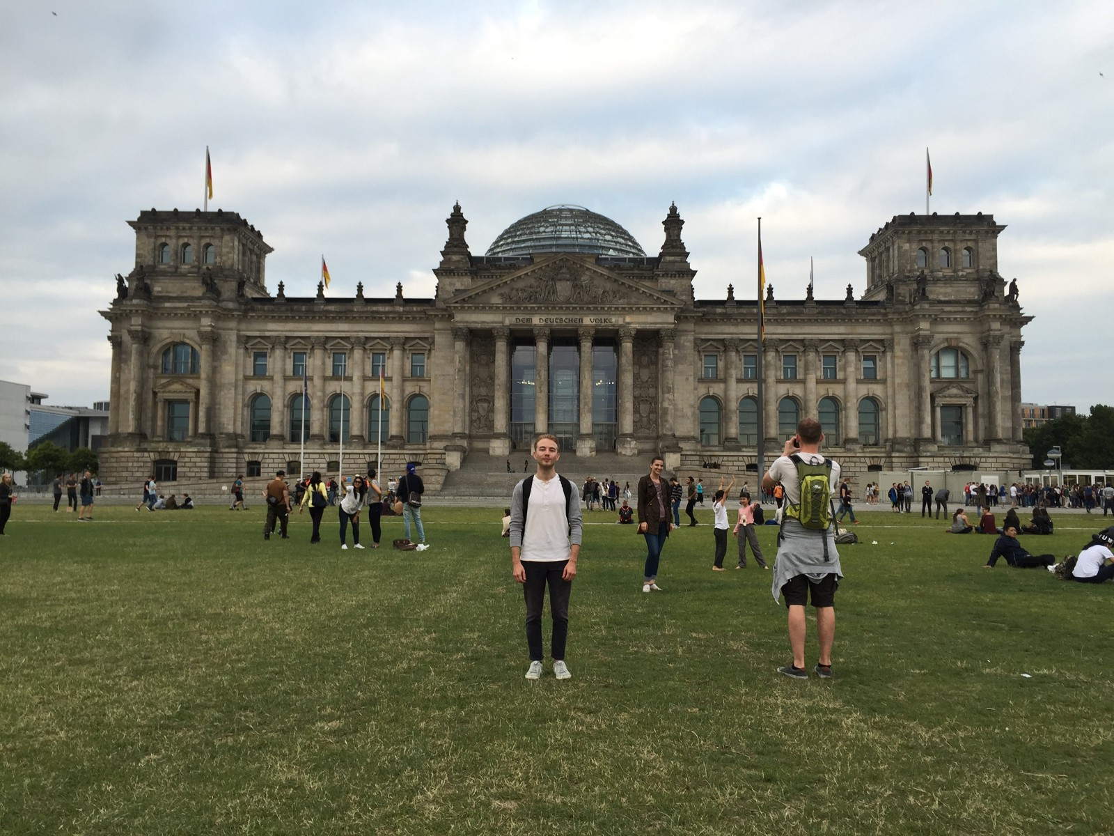 Standing in front of the Reichstag