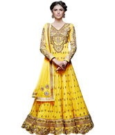 Das Designer Yellow Georgette Embroidered Anarkali Dress Material