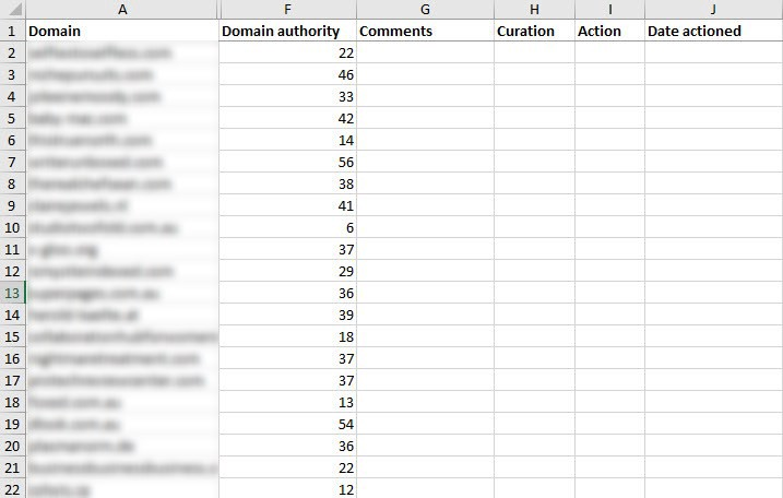 Excel File for Backlink Research