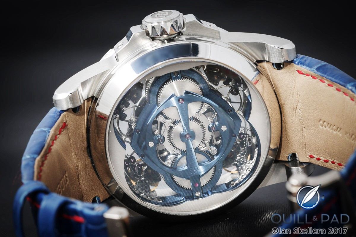 View through the display back of the Roger Dubuis Excalibur Quatuor Cobalt MicroMelt