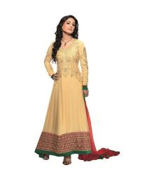 Muskan Beige Embroidered Faux Georgette Dress Material