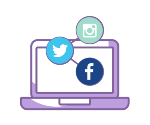 Cartoon image of computer with icons for Facebook, Twitter and Instagram