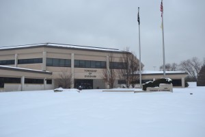 The Evesham Municipal Court building after a Winter  dropped about a foot of snow in the area.