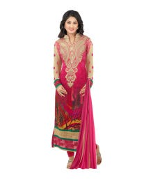 Heenari Vol 2 Pink Faux Georgette Embroidered Dress Materaial