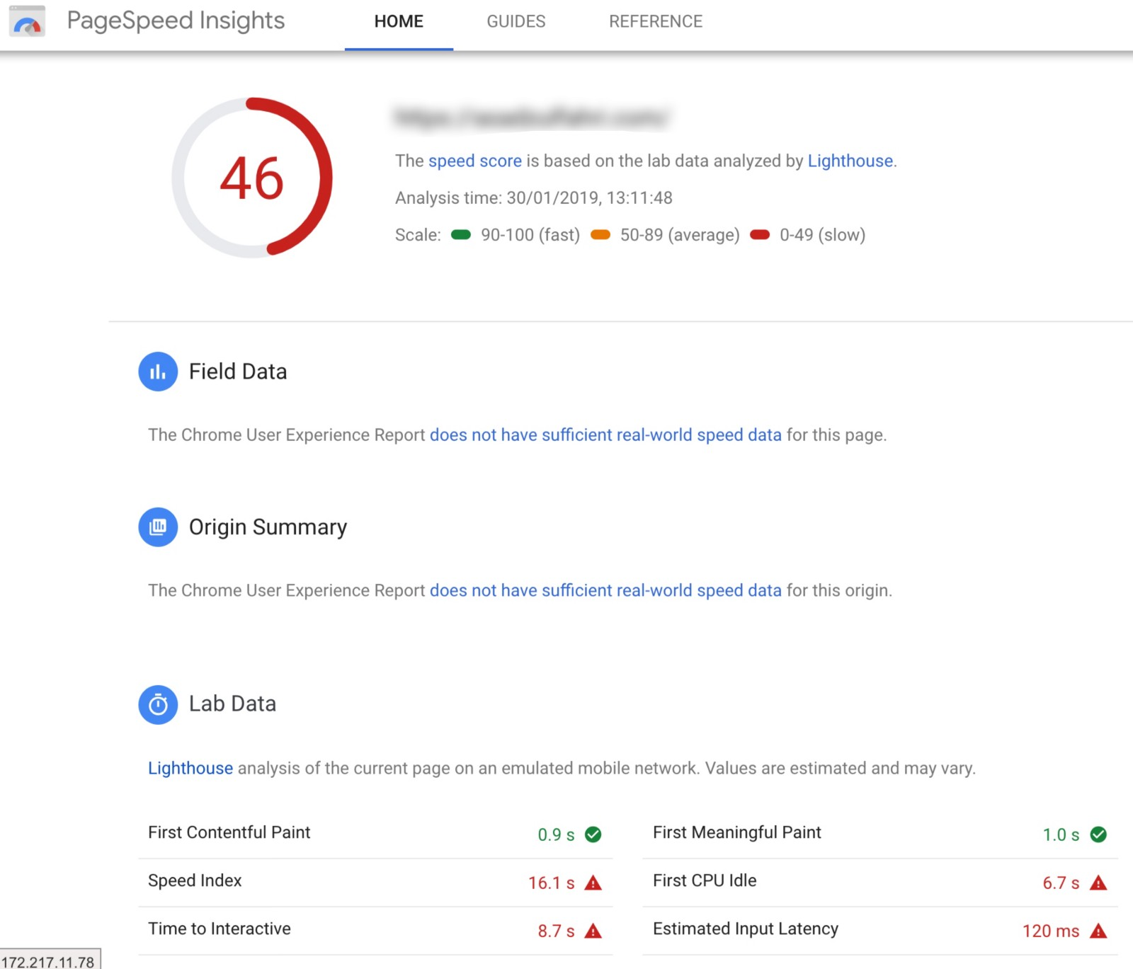 google pagespeed insights overview
