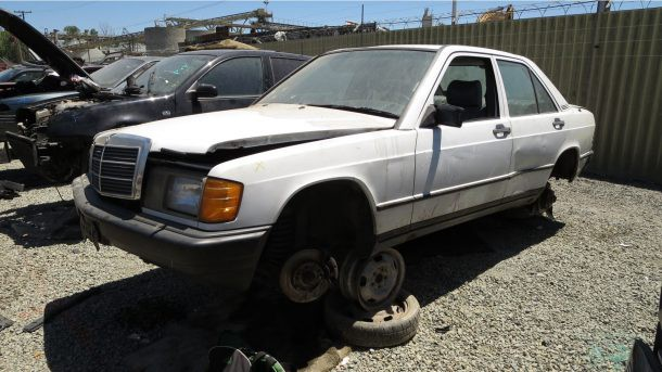 ... 1987 Mercedes Benz 190E A Gasoline Powered, Single Cam, Five Speed W201  With The Highest Plausible Odometer Reading I Have Ever Seen In A Wrecking  Yard ...
