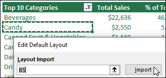 Import existing PivotTable settings by selecting any PivotTable and clicking Import - www.office.com/setup