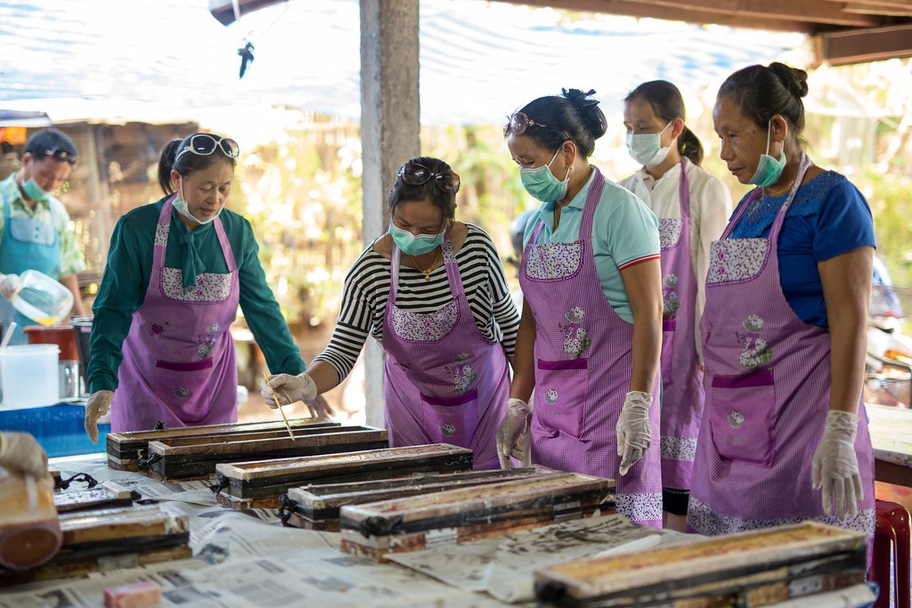 Women Taking a Soap Making Class from Soap 4 Life in Vientiane, Laos.