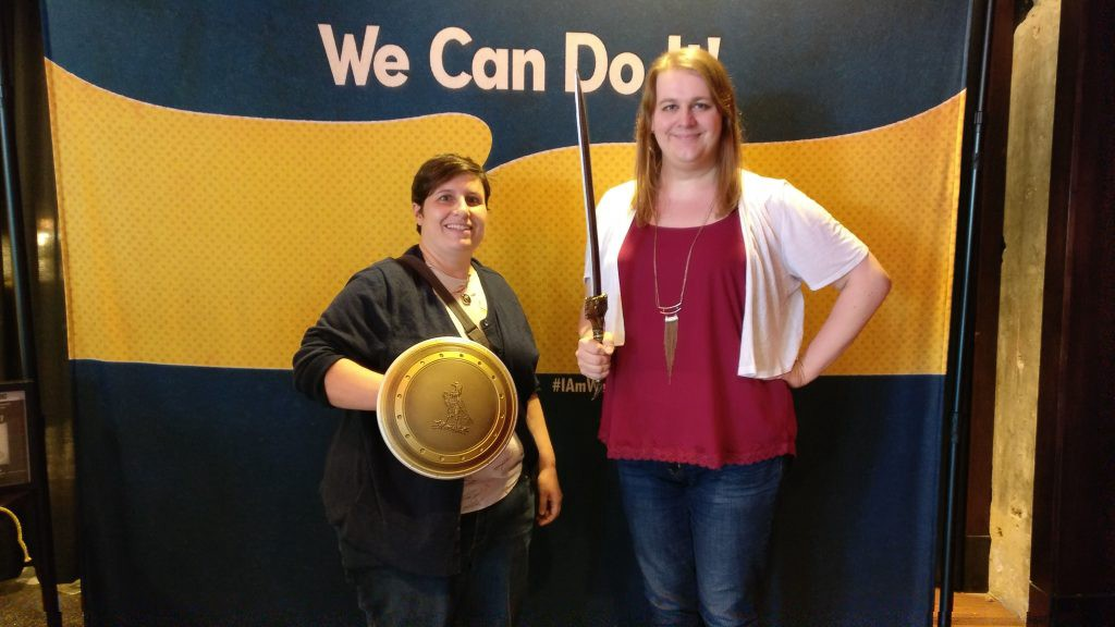 My friend Abbey and I at the women-only Wonder Woman screening at the Alamo Drafthouse in Kansas City. They had this backdrop with props, so we posed.