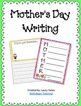 two writing activities for Mother's Day