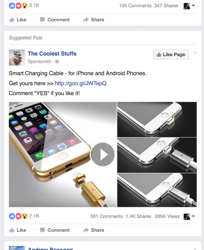 Facebook video thumbnail appearing as sponsored post on your timeline