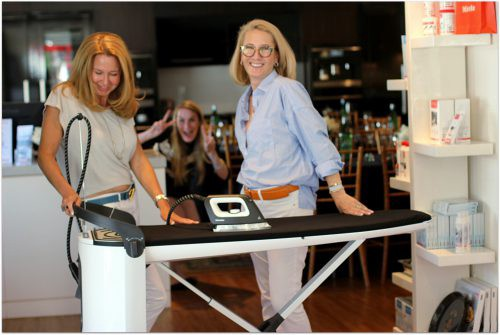 We were having so much fun laughing while we were trying the Miele Steam Ironing System that even the store employees got in on the silliness. www.WeAreMidlife.com