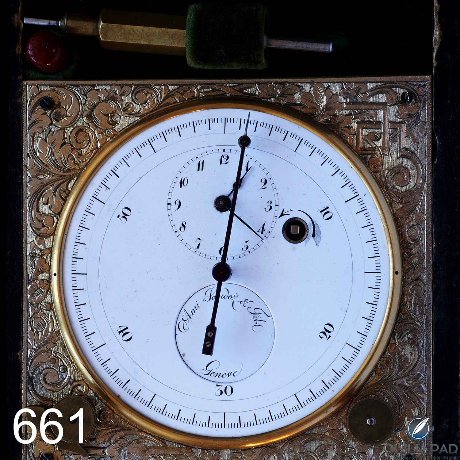 The Ami Sandoz ink-drop chronograph from Gerd-Rüdiger Lang's extensive chronograph collection (photo courtesy Kurt Strehlow)