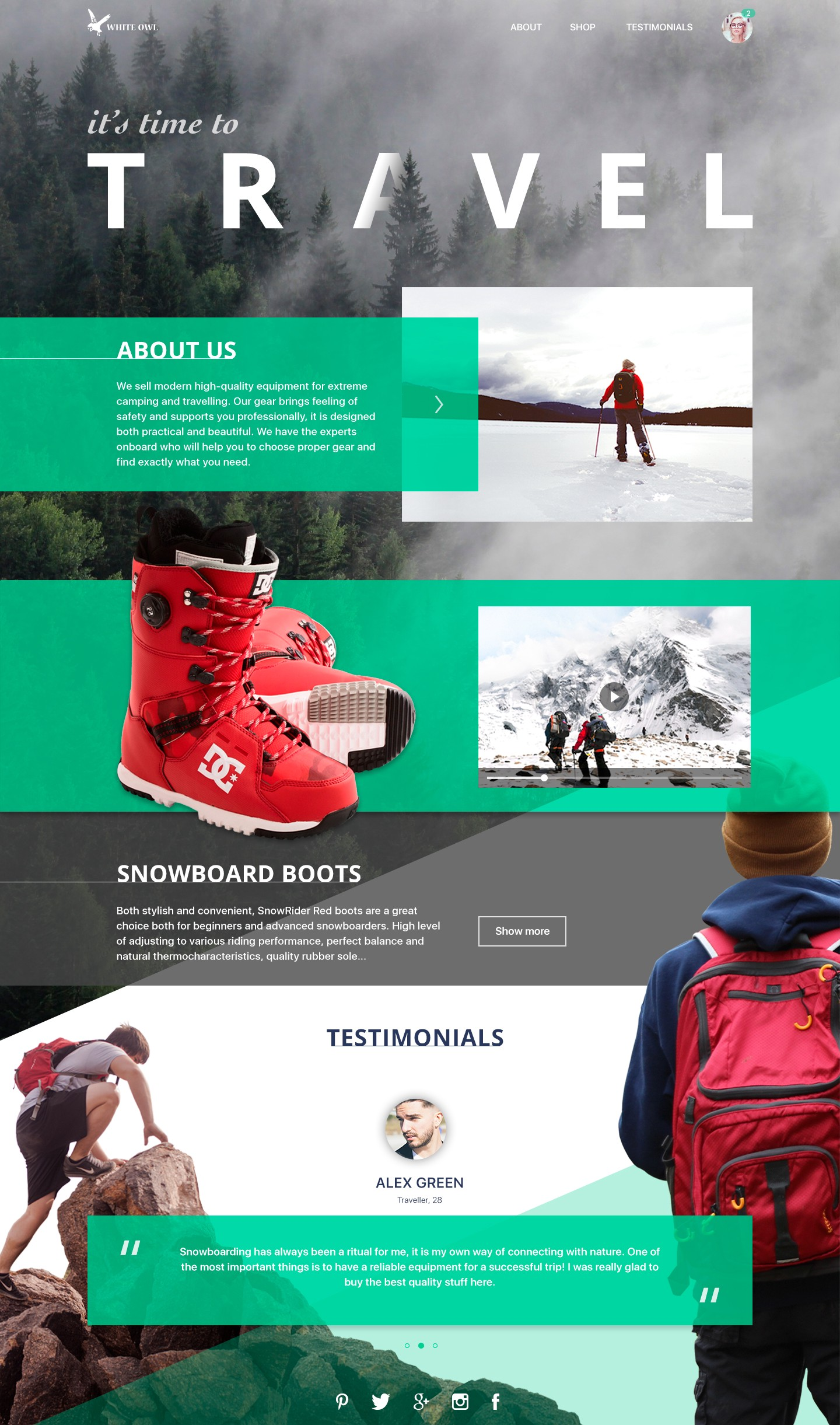 375ea858c69 Here is the layout of a landing page  the company presented by it sells  gear for extreme sports and active traveling so images were selected to set  ...