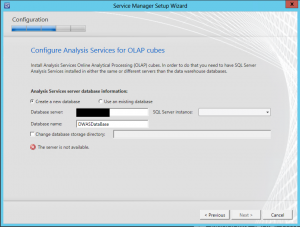 Service Manager Configure Analysis Services for OLAP cubes error