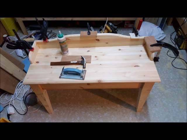 diy charging station table home made wood work all in one
