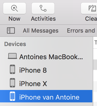 Devices menu in the Console.app