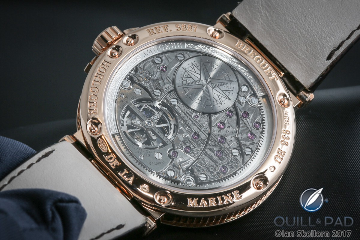 View through the display back to engraved movement of the Breguet Marine Équation Marchante Ref. 5887