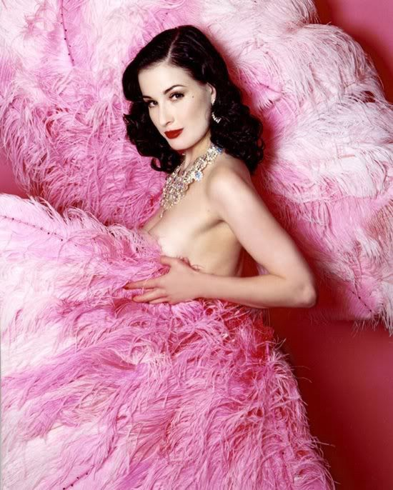 Dita Von Teese with pink feathers