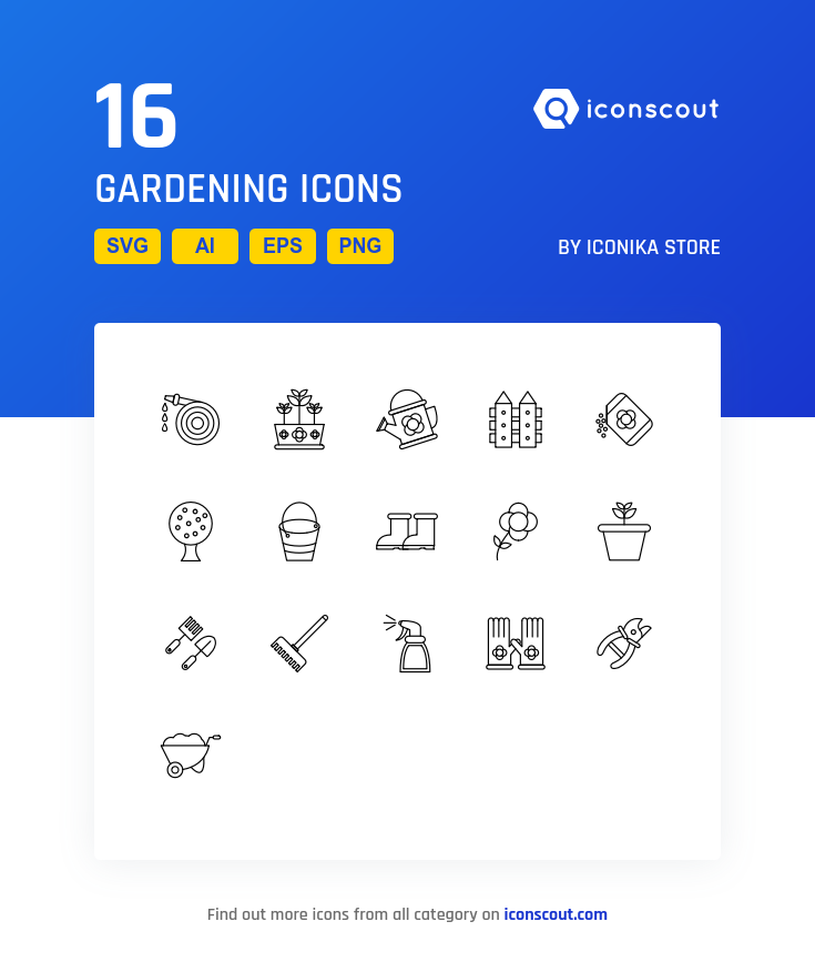 Gardening icons by Iconika Store