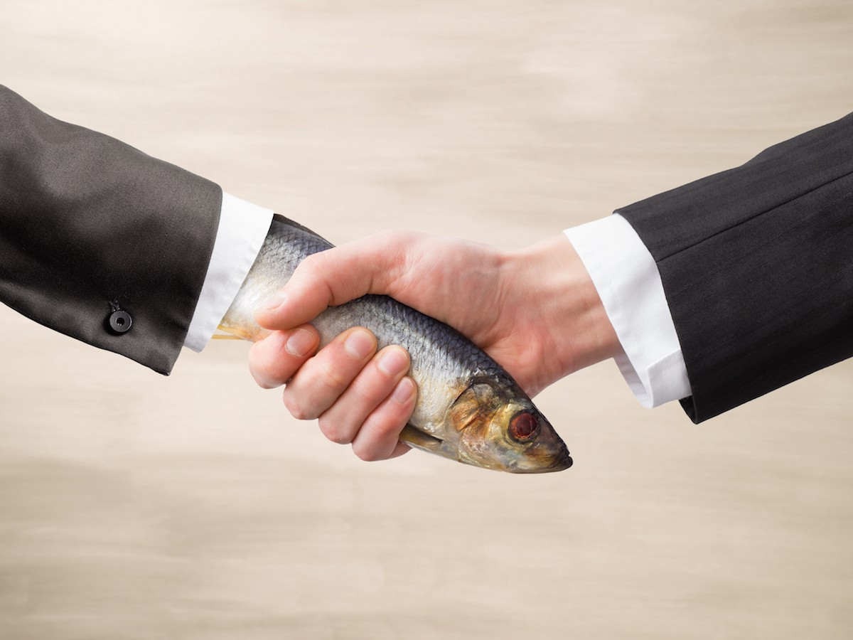 Nine out of ten people don't appreciate shaking hands with a fish.
