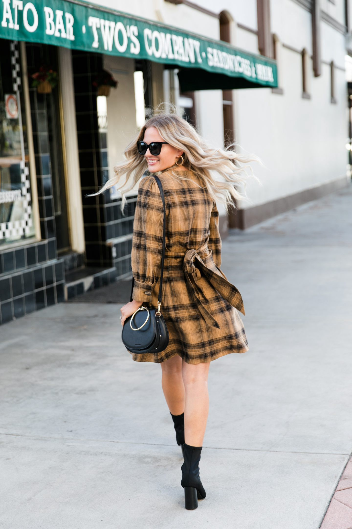 Free People plaid dress styled for Fall by top Orange County fashion blog, Dress Me Blonde