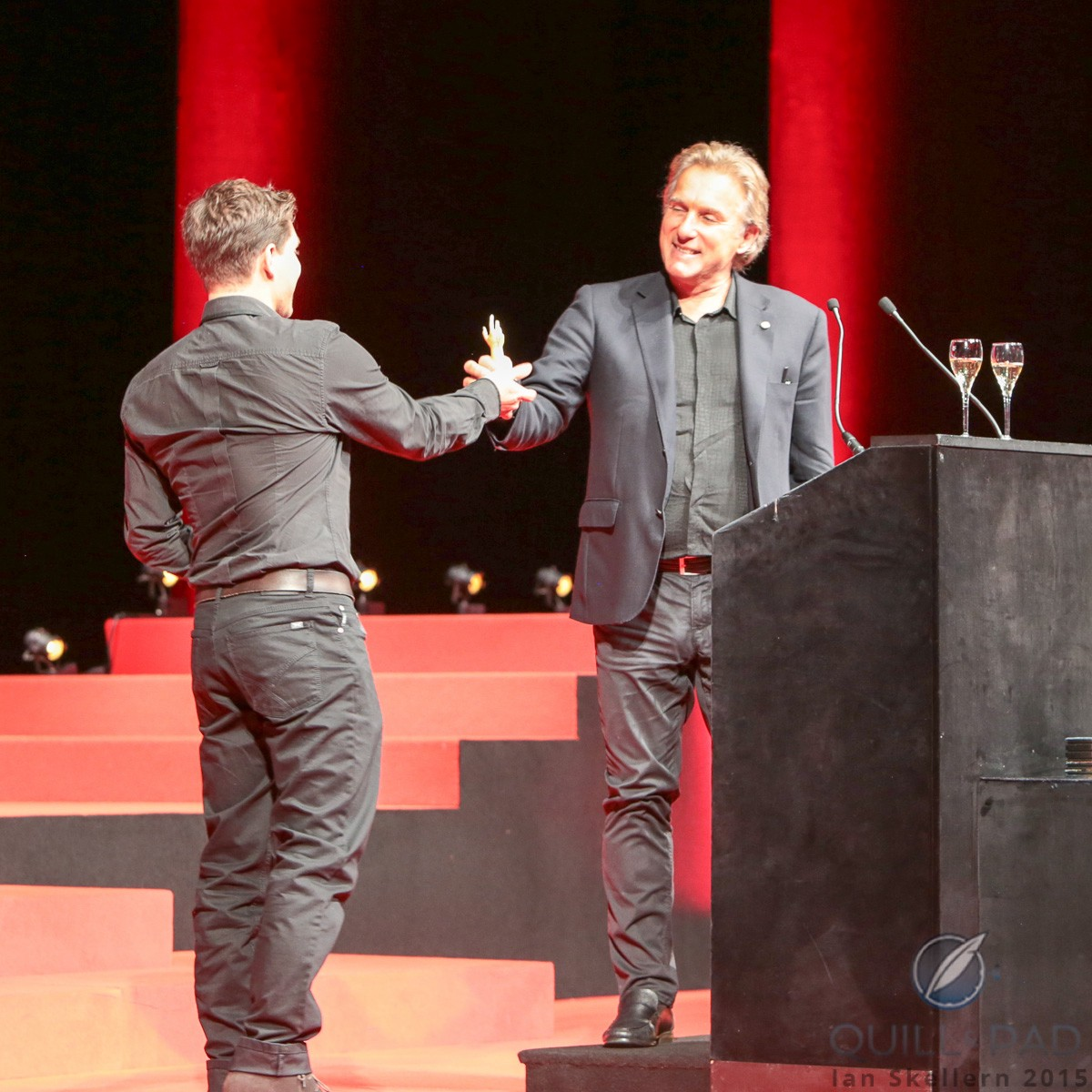 Antoine (right) and Florian Preziuso celebrating the Innovation prize at the 2015 Grand Prix d'Horlogerie de Genève for their Tourbillon of Tourbillons