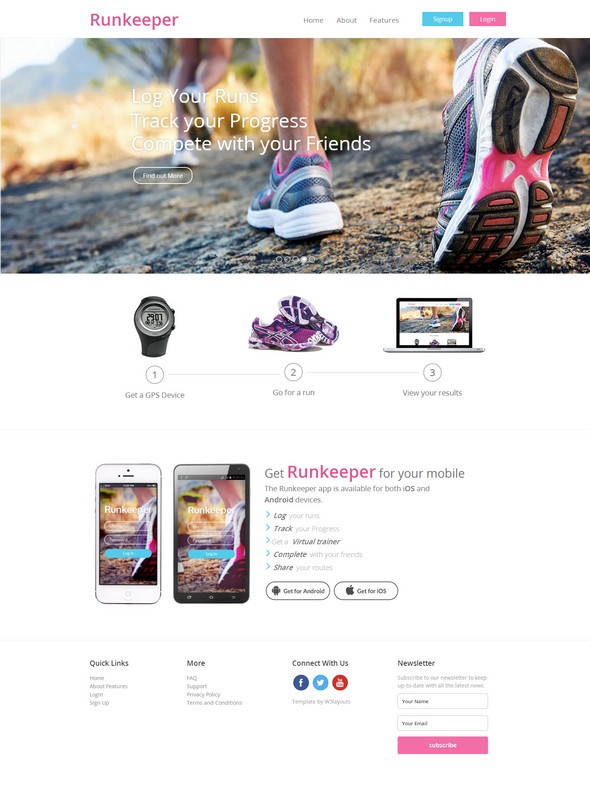 runkeeper a mobile app responsive web template - Free Responsive Website Templates