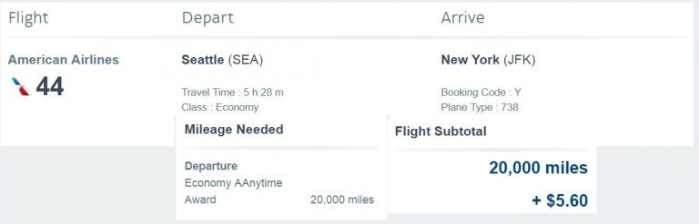 And the trip I ended up with: An AAnytime AAward from AAdvantage