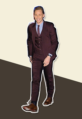 5c0a862a6a15 No one can look more dapper in a purple suit than Tom Hiddleston. Complete  with a vest, a patterned tie and a standout blue shirt, Tom's proves that  when it ...