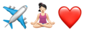 Airplane emoji, yoga girl emoji, red heart emoji