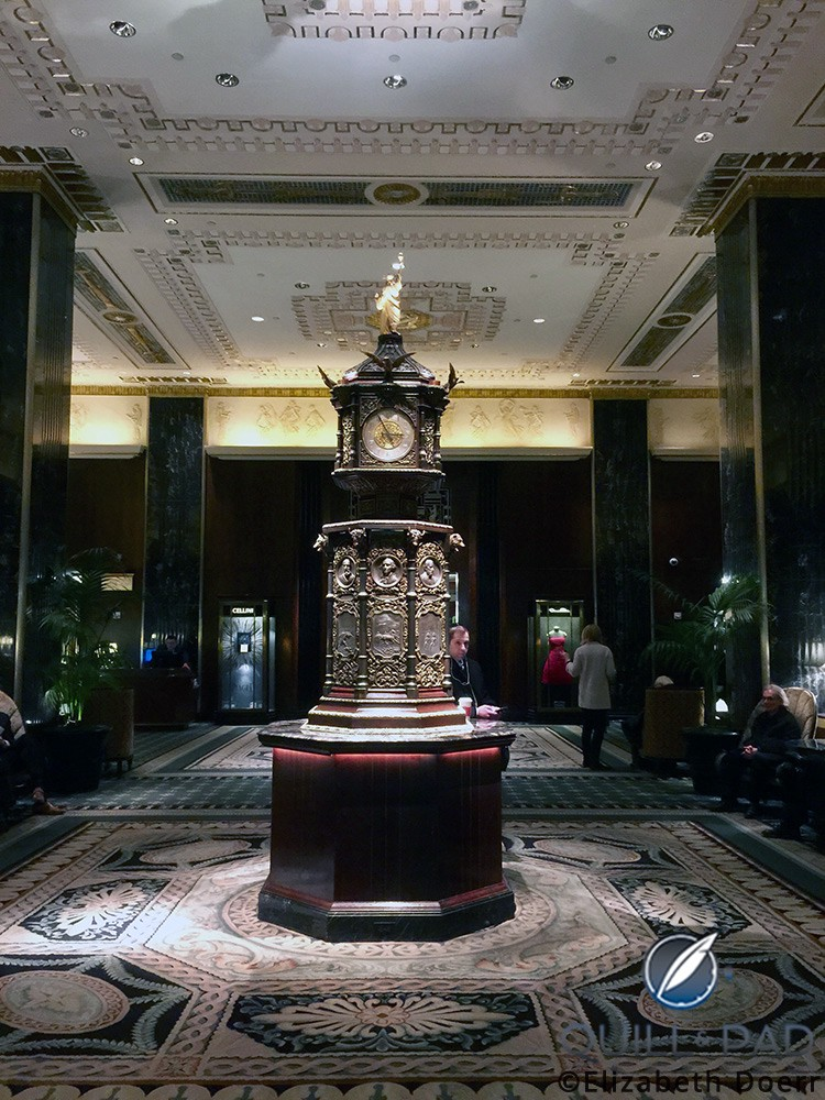 Clock in the lobby of the Waldorf Astoria hotel, New York