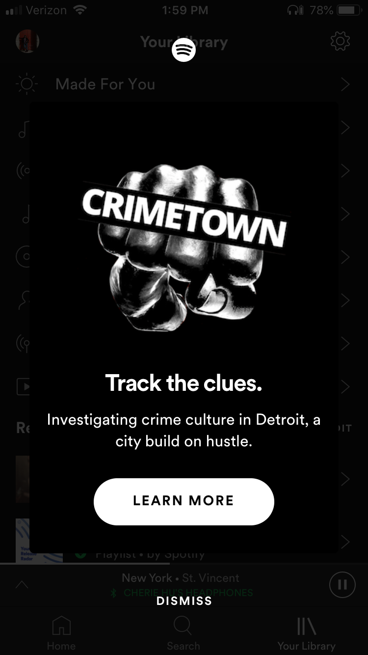 bcddd090 The notification was for Crimetown, a serial podcast produced by Gimlet  Media that dives into the history of organized crime in American cities.