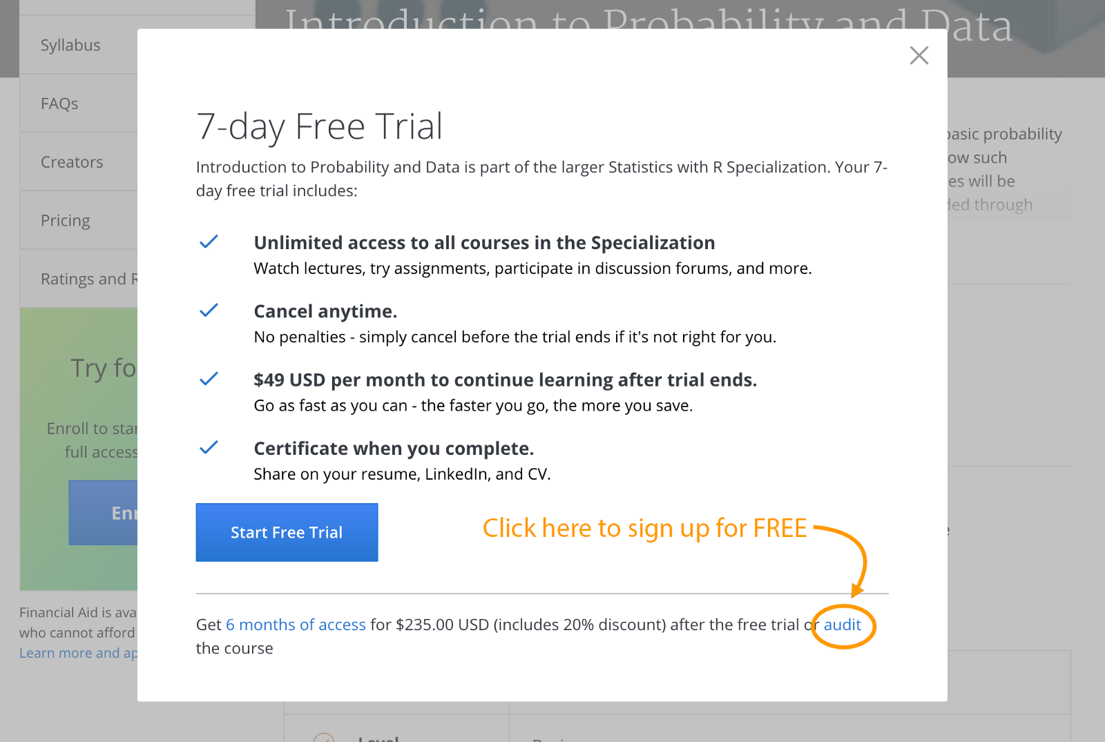 how to sign up for coursera courses for free freecodec