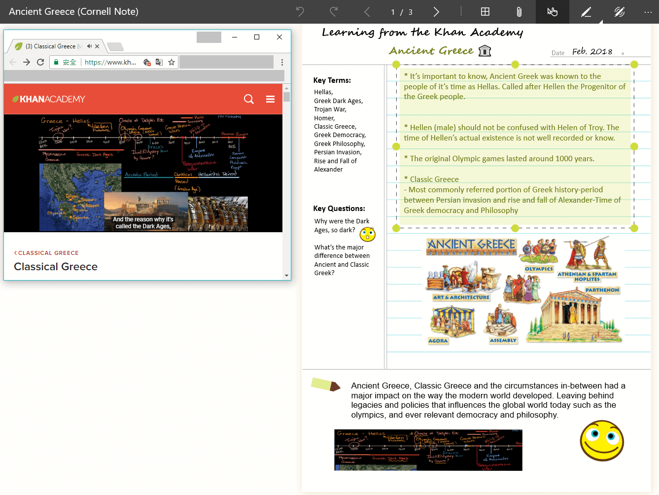 Cornell Notes Template History