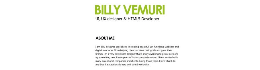 2) Concise Self Introduction:  Product Designer Resume