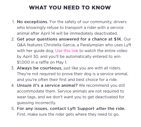 Lyft adopts clear policy on service dogs - Bent Corner