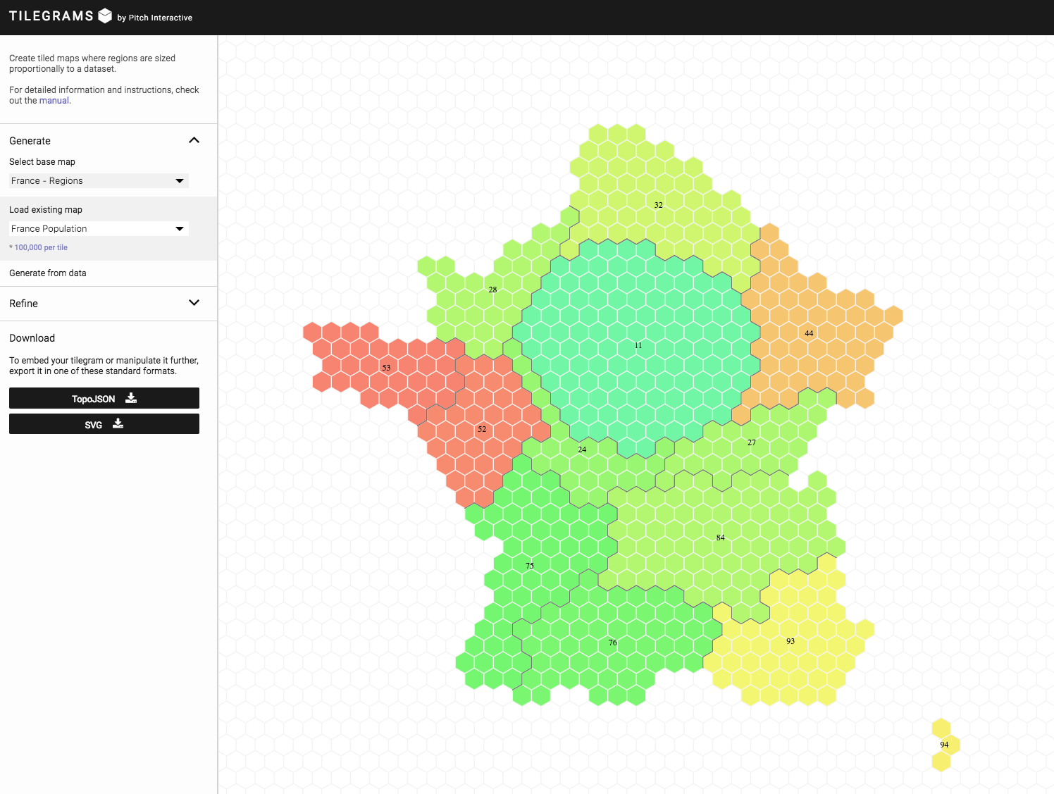 Map Of France With Key.New From Tilegrams Make A Hex Map With France And Germany Borders