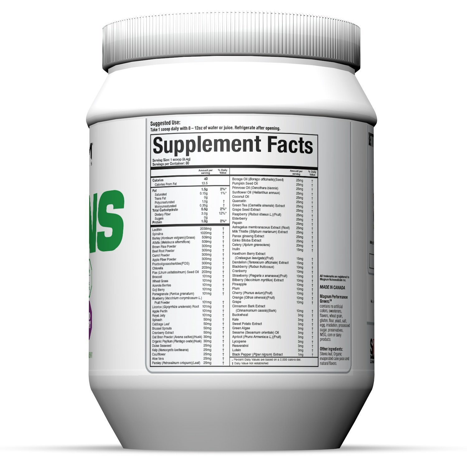 Magnum-Nutraceuticals-Performance-Greens-nutrition-label