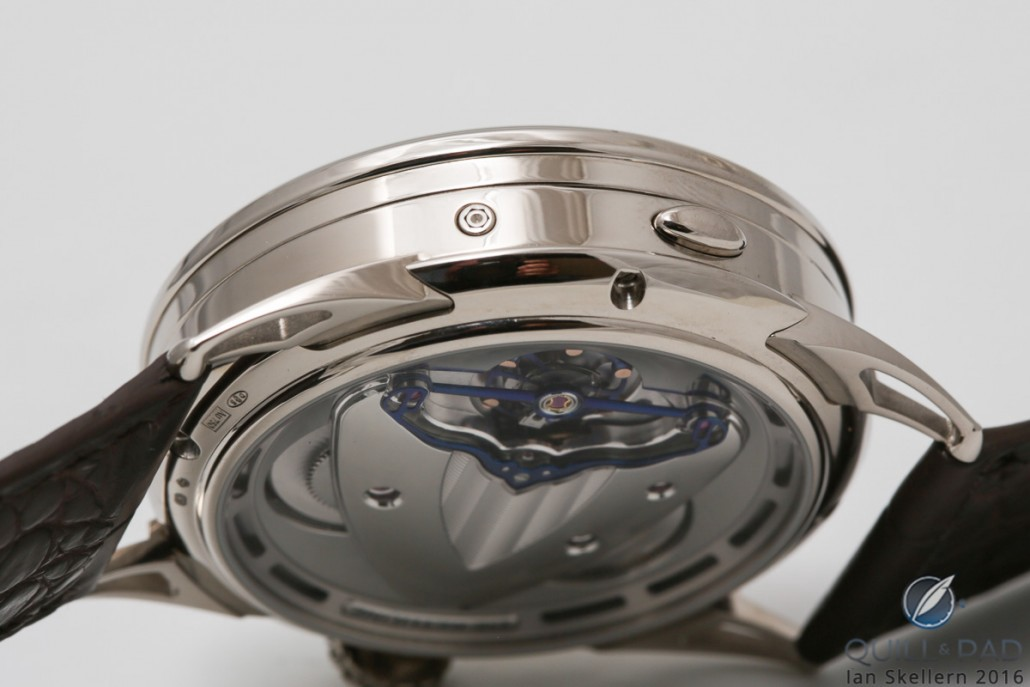World time adjustment pusher neatly set into the case band of the De Bethune DB25 World
