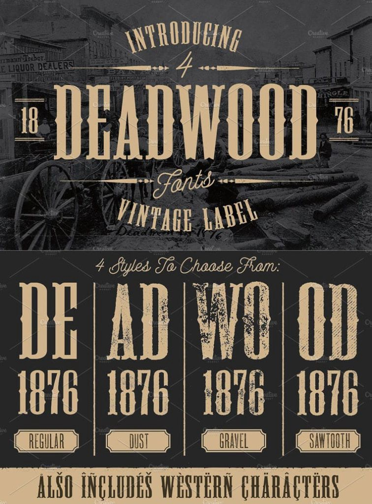 Deadwood Vintage Typeface w/Bonus by Once Blind Studios