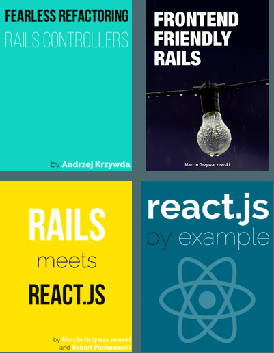 Giveaway: 4 Rails and React.js Ebooks byArkency