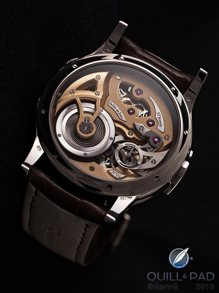 Production version Romain Gauthier Logical One with transparent sapphire crystal spring barrel and revised winding system