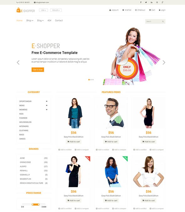 e shopper best free ecommerce html template - Free Responsive Website Templates