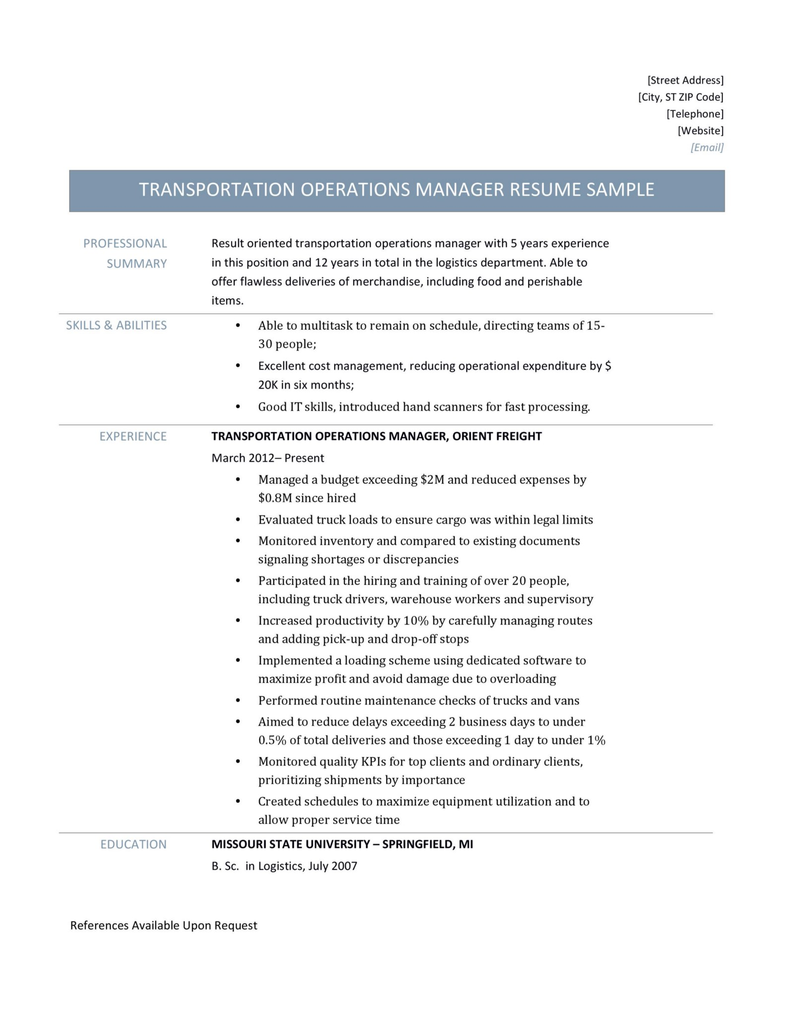 transportation operations manager resume samples  u2013 online resume builders  u2013 medium