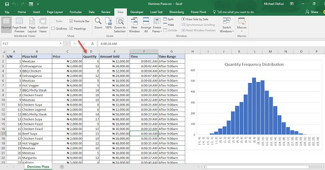 Tutorial on creating a frequency distribution chart with microsoft in excel it is extremely straightforward just plot a histogram on the quantity field ccuart Choice Image